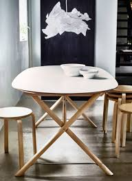 oval shape dining table an oval shaped dining table with white table top and birch legs