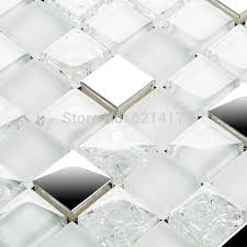 glass tile kitchen backsplashes pictures metal and white square white and clear ice crackle glass mixed stainless steel metal