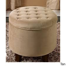 large round storage ottoman overstock com large round button tufted storage ottoman