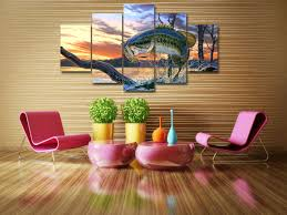 bass fishing home decor bass fishing art canvas 5 piece painting print home wall decor fly
