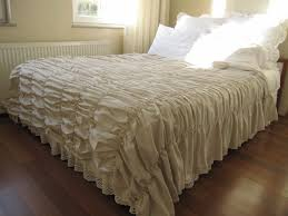 ruched bedding bedspread waterfall ruffle oatmeal cotton