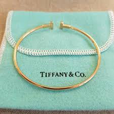 tiffany wire bracelet images Authentic tiffany co 18k rose gold t wire bracelet small luxury jpg