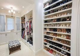 full wall shoe shelves transitional closet w design