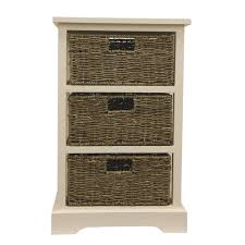 decor therapy 3 basket white storage end table fr6338 the home depot