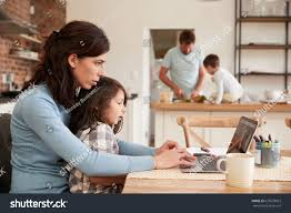 busy family home mother working father stock photo 627678053