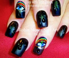 robin moses nail art rainbow no water marble nail art design