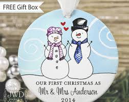 personalized wedding christmas ornament newlywed ornament etsy