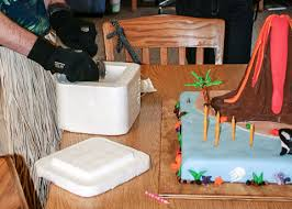erupting volcano cake flour arrangements