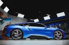 matte blue bentley of matte blue bmw i8 and i3 on lexani wheels