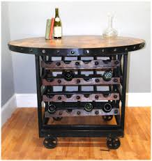 round wood u0026 iron factory wine rack table with rolling cart wheels