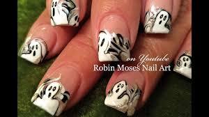 halloween drag dry marble nails chrome ghost nail art design