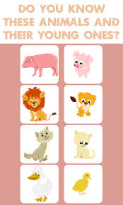 kids educational game such as animals and their babies for kids
