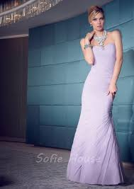 mermaid sweetheart lavender chiffon ruched evening dress with