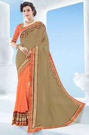color designer sarees bazaar attractive beige and orange color designer festive