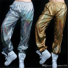 Women Men SlimHarem Pants Christmas Stage Wear Shine Dance Costumes