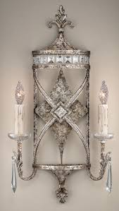 Crystal Wall Sconces Fine Art Lamps 323550 Winter Palace 2lt Silver Sconce Lighting