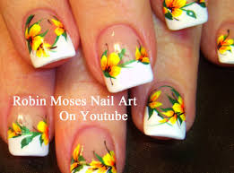 easy french mani nails with yellow flowers diy neon nail art