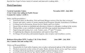 cv second de cuisine chef partie descriptionemplate and duties resume cv jd pictures
