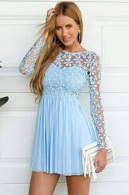 light blue long sleeve dress long sleeve lace splicing hollow out crochet mini dressen light