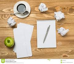 writing concept papers showing media posts for funny writing on wood www picofunny com stock photo waiting inspiration to come top view creative writing concept papers wooden table image64586232 jpg