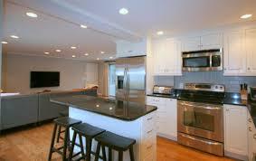 narrow kitchen with island cherry wood chestnut shaker door narrow kitchen island