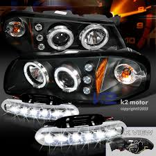 04 impala led tail lights 00 05 chevy impala dual halo led black projector headlights amber