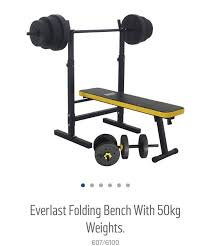 Everlast Olympic Weight Bench Everlast Folding Bench With 50kg Weights In Welham Green