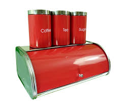 stainless steel bread bin set red bread tea coffee sugar canister