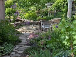 cottage style backyards shady side yard path to bocce horseshoe pit gardening tips