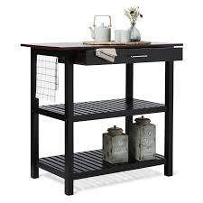 industrial iron wood kitchen trolley natural black buy kitchen kitchen island with natural solid wood top free shipping today