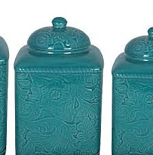 turquoise kitchen canisters turquoise canister set storage ceramic floral kitchen counter 3 pc