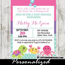 the sea baby shower invitation card for personalized