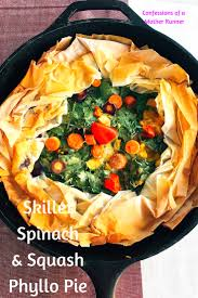skillet spinach and squash phyllo pie meatless thanksgiving