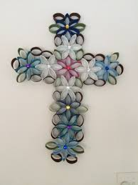 cross of flowers made from toilet paper rolls lots of fun to make