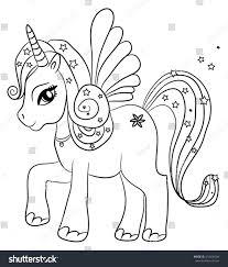cute cartoon fairytale unicorn coloring page stock vector