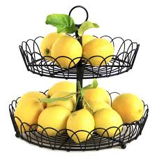 metal fruit basket 2 tier black metal wire standing fruit storage basket free