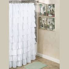 maribella white ruffled shower curtain