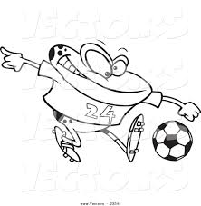 cartoon vector of cartoon frog playing soccer coloring page