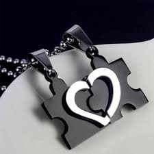 puzzle heart pendant necklace images Mens women couple stainless steel love heart puzzle pendant jpg