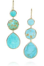 turquoise drop earrings ippolita 18 karat gold bronze turquoise drop earrings
