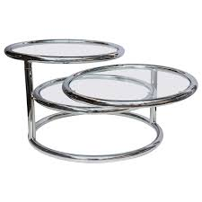 milo baughman style swivel tiered circles coffee table from a