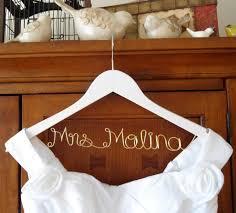 Wedding Dress Hanger White Personalized Bridal Hanger One Line Gold Wire Custom Bridal