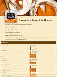 thanksgiving sign ups for potlucks and more