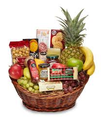 abundant gourmet and fruit basket at from you flowers