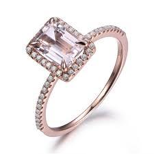 pink gold engagement rings 5x7mm emerald cut pink morganite gemstone diamond halo 14k