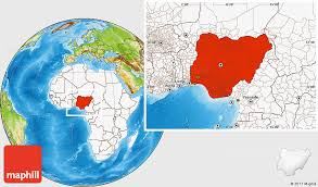 nigeria physical map physical location map of nigeria highlighted continent