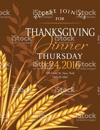 fall wheat thanksgiving dinner invitation template stock vector