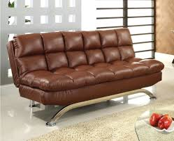 brown leather futon sofa comfy pillow top