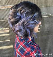 shag haircut brown hair with lavender grey streaks 60 hairstyles featuring dark brown hair with highlights brown