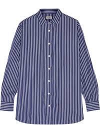 olivia palermo wearing navy vertical striped dress shirt light